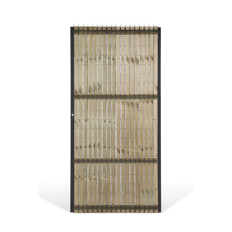 Portillon Collfort Matériaux mixtes, grillage et lamelles  ~ Grillage En Bois