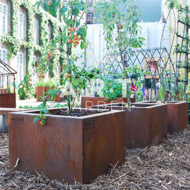pot ou jardini re design fabriqu la main pot acier corten walfilii. Black Bedroom Furniture Sets. Home Design Ideas