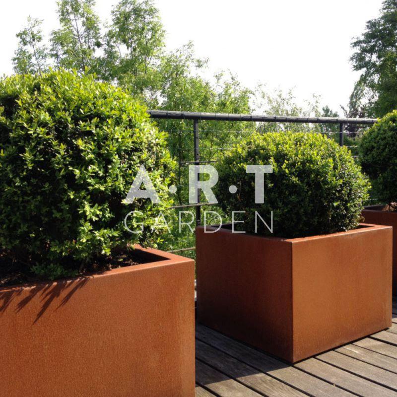jardini re design walfilii florence pot acier corten. Black Bedroom Furniture Sets. Home Design Ideas