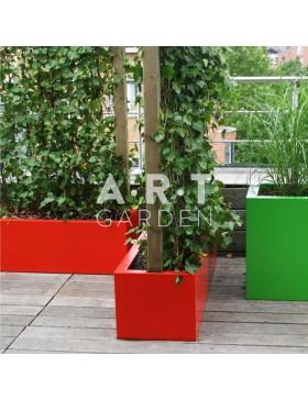 Jardinière colorée design Walfilii Hedge pour votre jardin en acier laqué