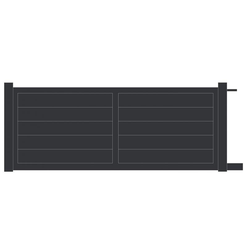 Portail coulissant alu panneau plein motorisable for Portail electrique coulissant 3m