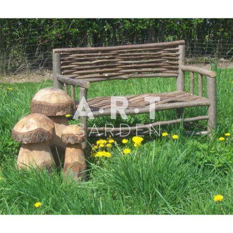 Banc De Jardin En Bois De Noisetier, Sans Traitement, Élégant Et