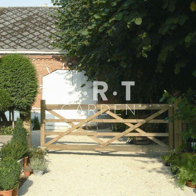 Portillon bois rancho au style entr e de ferme pin trait for Portillon bois exterieur