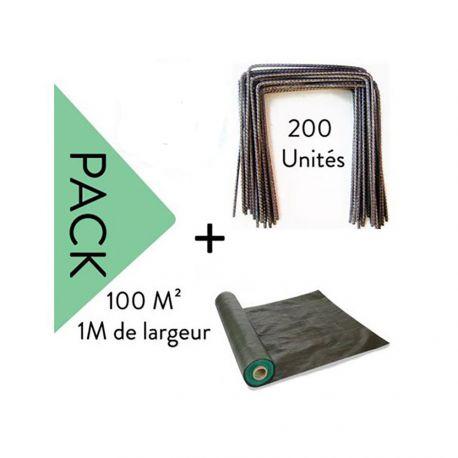 Lot Toile de paillage 100 m² - 1M Largeur + 200 Agrafes Metalliques
