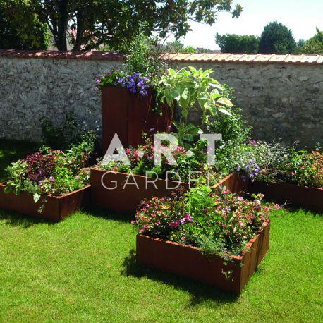 grand pot de fleur acier corten atech design et pas cher. Black Bedroom Furniture Sets. Home Design Ideas