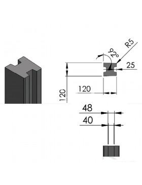 Poteau ECO pour cloture béton 270 x 12 x 12 cm