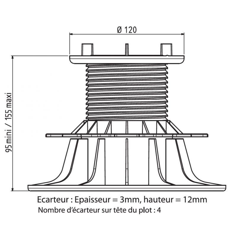 plot terrasse dalle autonivelant 95 155 mm art. Black Bedroom Furniture Sets. Home Design Ideas