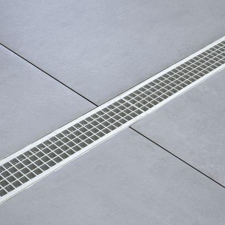 Caniveau de drainage pour syst/ème modulaire A15 98 mm Grille plastique.Dimensions:long100 cm,larg13 cm,prof9,8 cm.Couleur gris.Ensemble 1 metre.
