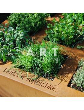 Jardinière design Walfili Herbes pour plantes aromatiques en acier corten 120 x 120 x 40 cm
