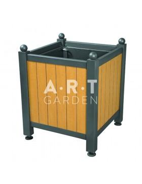Bac d'orangerie acier avec panneaux bois stratifié rainuré afro sahara Dualis Atech