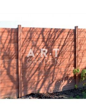 Cloture béton plaque 1 face imitation bois 192 x 40 x 3,5 cm