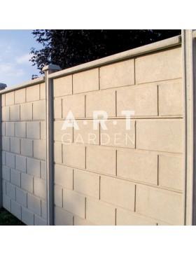 Cloture béton plaque 1 face imitation pierres croisées 192 x 50 x 4 cm