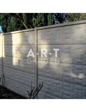 Cloture béton plaque 1 face imitation petits moellons 192 x 47 x 5,5 cm